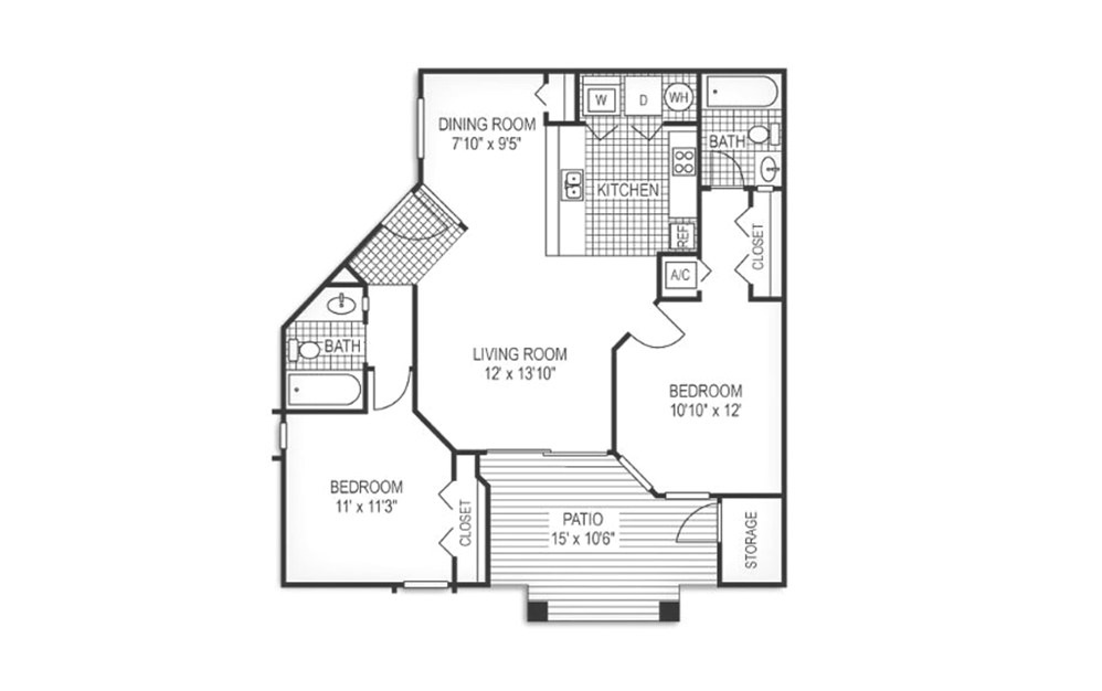 2 Bedroom- $1175 - $1290 - 2 bedroom floorplan layout with 2 baths and 900 square feet.